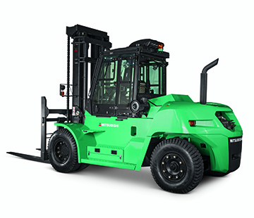 Profile View of a Heavy Duty FD Series Mitsubishi Forklift
