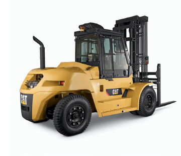Rear Side View of a Large Class 5 Pneumatic Diesel Cat Forklift