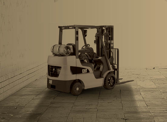 cat lift truck in tunnel