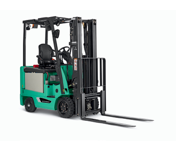 Profile View of a Mitusbishi Small Electric Cushion Forklift